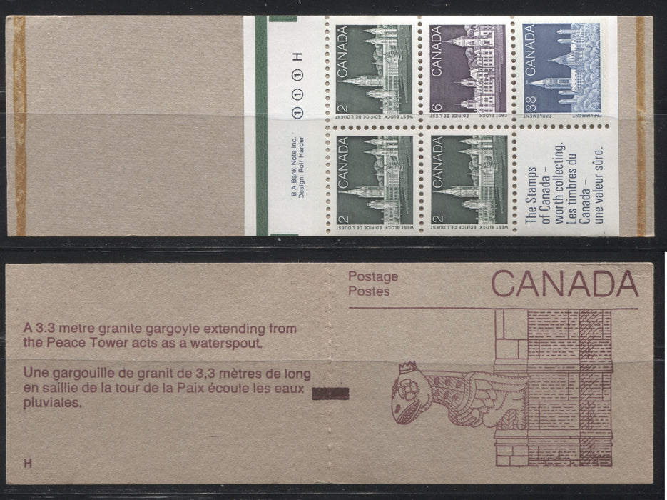 Canada #BK100b (McCann BK100Gb) 1988-1991 Wildlife and Architecture Issue, A VFNH 50c Vending Machine Counter Booklet With LF Rolland Cover, DF/DF Pane and Left Tag Bar on Tab (3/1)