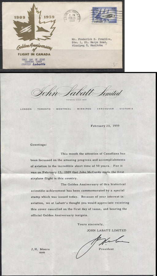 1959 Silver Dart Issue - a Labatt's First Day Cover Including a Letter on John Labatt Letterhead
