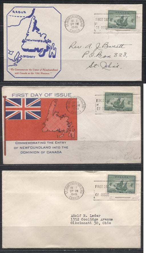 1949 Entry of Newfoundland Into Confederation - Three Different FDC's