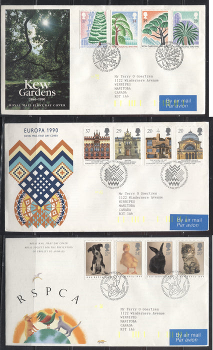 Great Britain SG#1479/1530 1990 Commemoratives - A Group of 5 First Day Covers