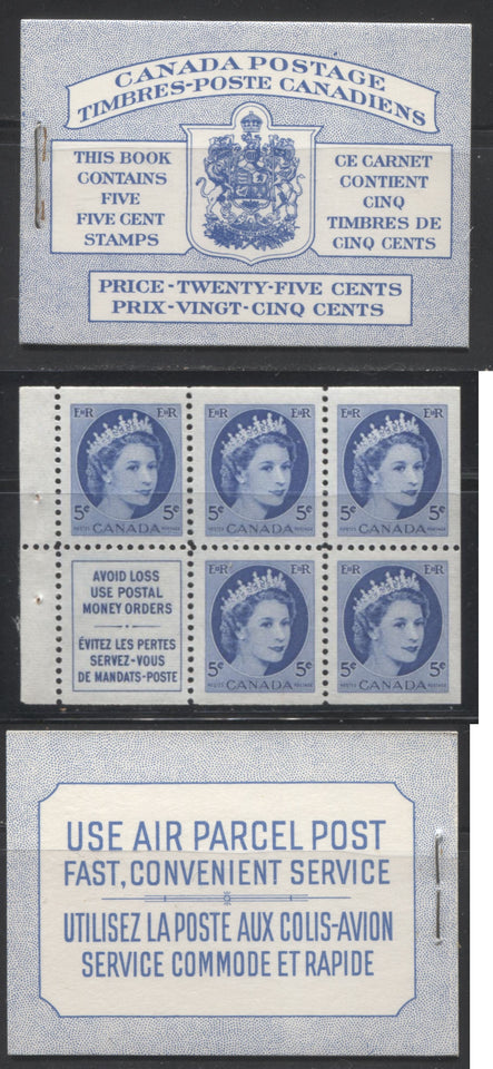Canada #BK12 1928-1929 Scroll Issue, Complete 25¢ English Booklet, 17 mm Staple,  Vertical Wove Paper,  Typographed Covers