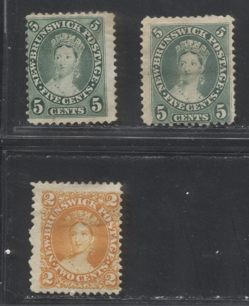 New Brunswick #7c & 8a 2c Yellow Orange and 5c Blue Green, 1860-1867 Cents Issue,VG Unused Examples