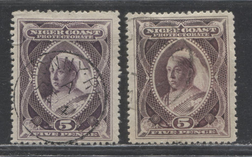 Niger Coast Protectorate SG#55-55a 5p Deep Purple and Reddish Violet Queen Victoria, 1894-1896 2nd Waterlow Unwatermarked Issue, Fine and Very Fine Used Examples of Both Shades, Perf. 14.5-15, Featuring A Bonny River CDS And An Indistinguishable CDS