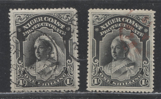 Niger Coast Protectorate SG#56-56a 1/- Black Queen Victoria, 1894-1896 2nd Waterlow Unwatermarked Issue, Perf. 13.5-14, and 14.5-15, Featuring A Bonny River 1895 CDS And A Sapele CDS