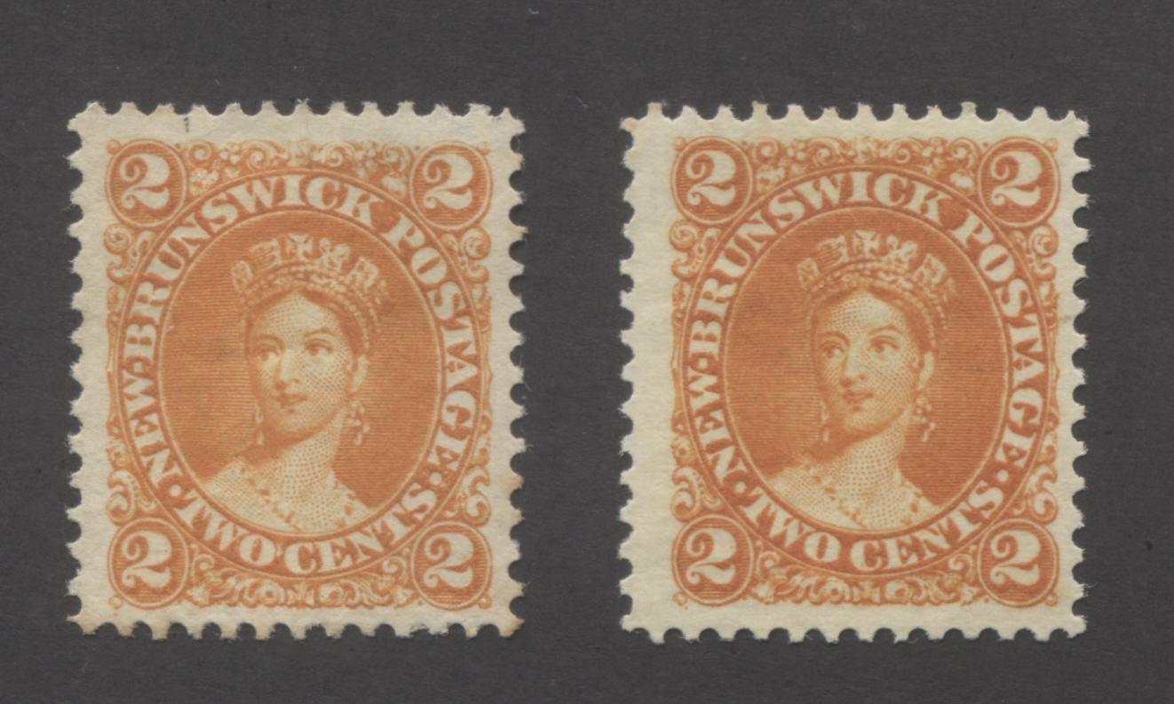 New Brunswick #7, 7b 2c Orange and Deep Orange, Queen Victoria 1860-1867 Cents Issue Very Fine Unused Examples of Two of the Three Listed Shades Brixton Chrome