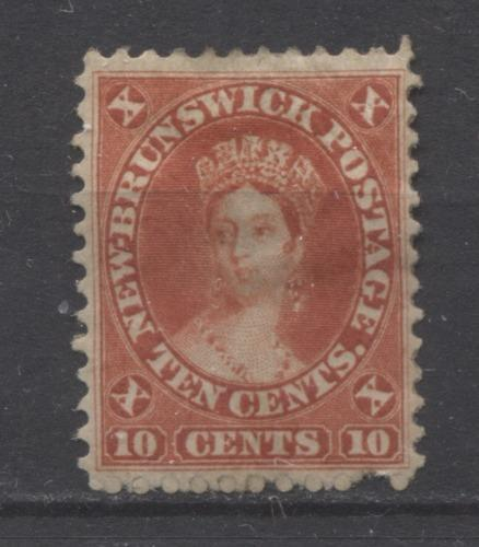 New Brunswick #9 (SG#17) 10c Vermilion Queen Victoria Cents Issue Perf. 12 x 11.75 VG-62 OG Brixton Chrome