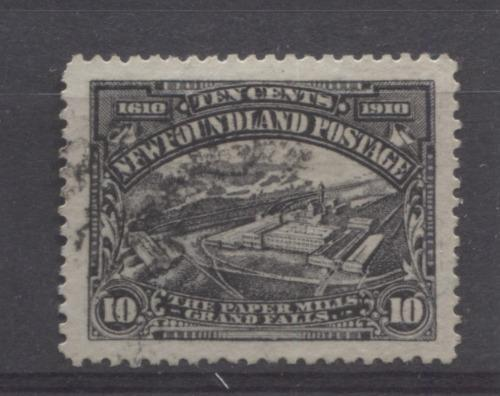 Newfoundland #101 (SG#114) 10c Violet Black Paper Mill 1911 Engraved John Guy Issue VF-84 Used Brixton Chrome