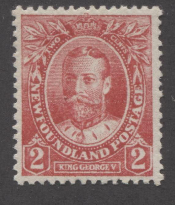 Newfoundland #105b 2c Bright Rose Red King George V, 1911-1919 Royal Family Issue, A Very Fine NH Mint Example of the Wartime Printing, Comb Perf. 13.8 x 14.1 Brixton Chrome