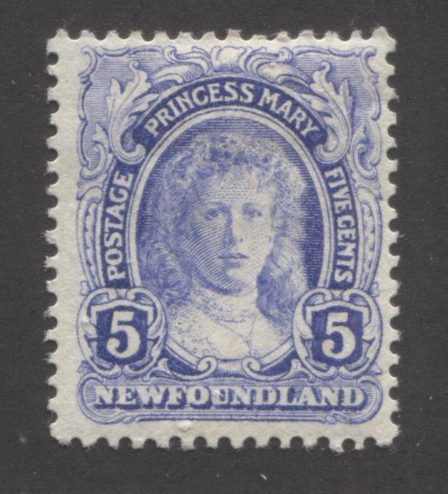 Newfoundland #108 5c Ultramarine Princess Mary, 1911-1919 Royal Family Issue, A Fine OG Mint Example, Comb Perf. 13.8 x 14.1 Brixton Chrome