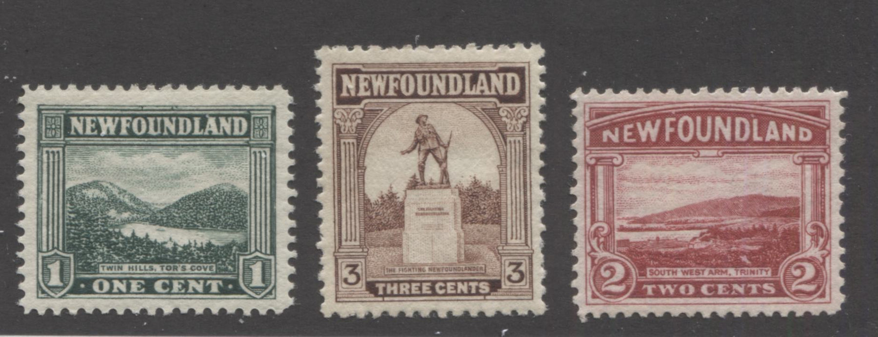 Newfoundland #131-133 1c Green - 3c Reddish Brown Twin Hills - War Memorial, 1923-1928 Pictorial Issue, Very Fine Mint OG Examples, Line Perf. 14.2 and Comb Perf. 13.8 x 14 Brixton Chrome