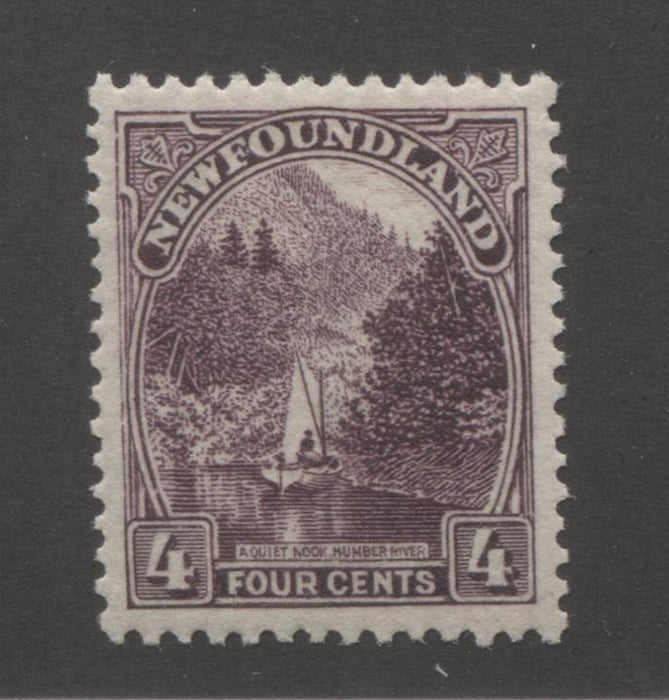 Newfoundland #134 4c Deep Plum Quiet Nook, Humber River, 1923-1928 Pictorial Issue, Very Fine NH, Comb Perf. 13.8 x 14 Brixton Chrome