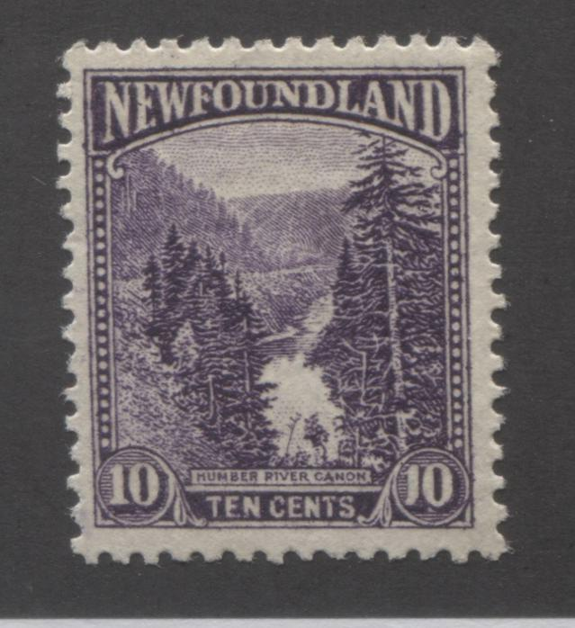 Newfoundland #139 10c Deep Violet Humber River Canyon, 1923-1928 Pictorial Issue, Very Fine OG, Comb Perf. 13.8 x 14 Brixton Chrome