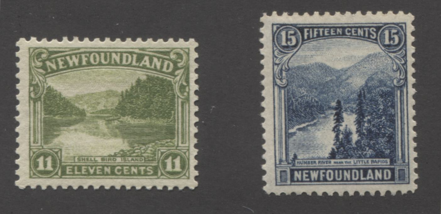 Newfoundland #140, 142 11c Apple Green - 15c Dark Blue Shell Bird Island & Little Rapids, 1923-1928 Pictorial Issue, Fine Mint OG Examples, Comb Perf 14 and Line Perf. 14.2 Brixton Chrome