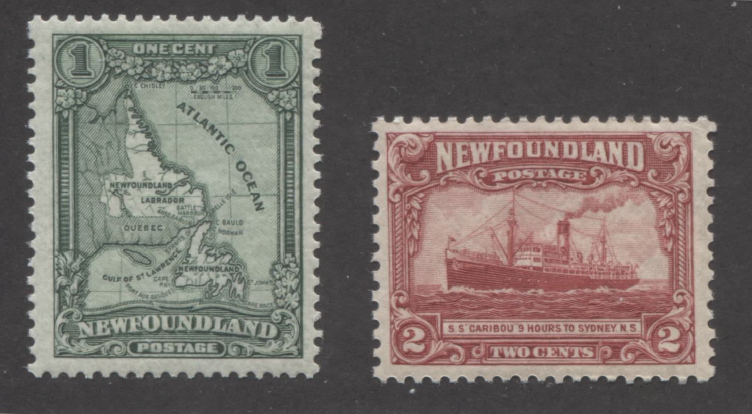 Newfoundland #145-146 1c Green and 2c Carmine 1928-1929 Publicity Issue, Very Fine Mint NH Examples, Each a Different Perf. Brixton Chrome