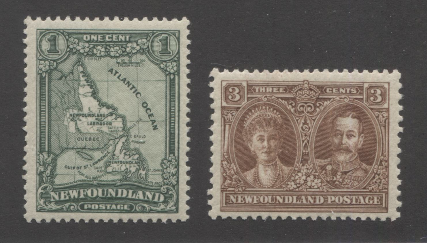 Newfoundland #145, 147 1c Deep Green and 3c Brown Map of Newfoundland & King George V and Queen Mary, 1928-1929 Publicity Issue, Very Fine NH Examples, Comb Perf. 14.1 x 14 and 13.6 x 12.75 Brixton Chrome
