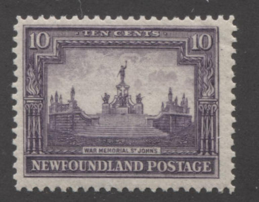 Newfoundland #153 10c Violet War Memorial 1928-1929 Publicity Issue, A Fine Mint NH Example of the Line Perf. 14.1 x 14 Brixton Chrome