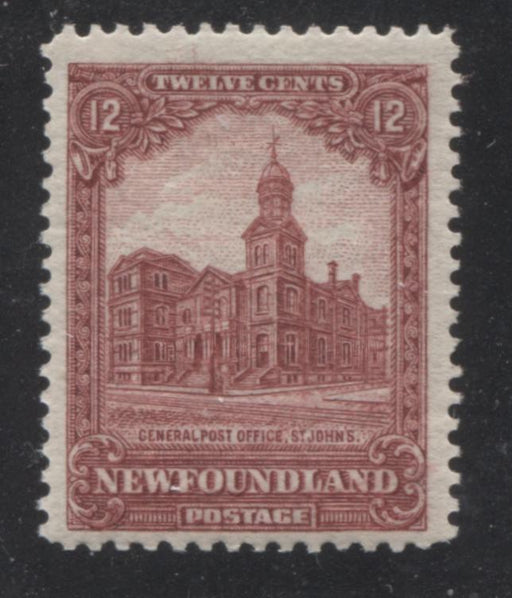 Newfoundland #154 12c Carmine-Red General Post Office 1928-1929 Publicity Issue, A Fine Mint NH Example of the Line Perf. 13.75 x 14.1 Brixton Chrome