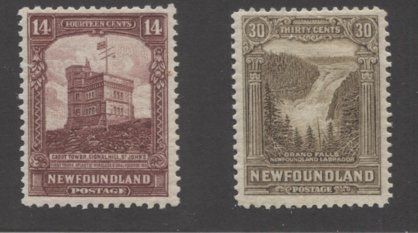 Newfoundland #155, 159 14c Claret Brown - 30c Olive Brown Cabot Tower & Grand Falls, 1928-1929 Publicity Issue, Fine Mint OG Examples, Comb Perf. 13 x 13.6 and Line Perf. 13.9 x 14.2 Brixton Chrome