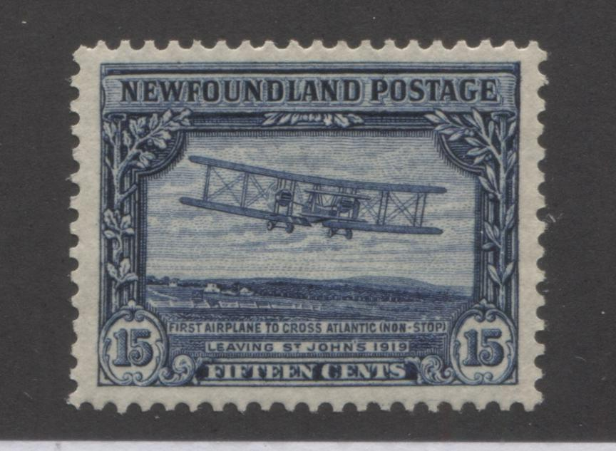 Newfoundland #156 15c Deep Blue First Transatlantic Flight, 1928-1929 Publicity Issue, Very Fine Mint OG, Line Perf. 14.1 x 13.8 Brixton Chrome