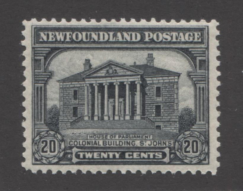 Newfoundland #157 20c Black Colonial Building 1928-1929 Publicity Issue, A Very Fine Mint OG Example of the Line Perf. 14.2 x 14.1 Brixton Chrome
