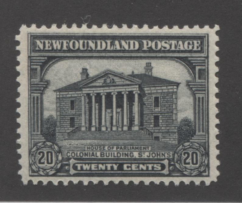 Newfoundland #157 20c Black Colonial Building, St. John's, 1928-1929 Publicity Issue, Very Fine Mint NH, Line Perf. 14.2 x 14 Brixton Chrome