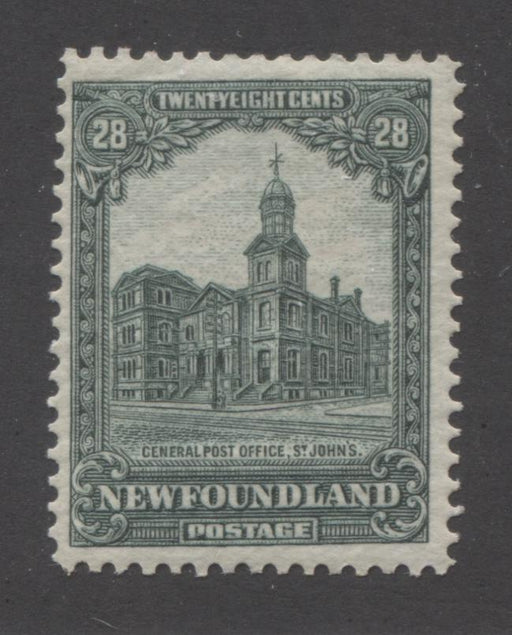 Newfoundland #158 28c Deep Green General Post Office 1928-1929 Publicity Issue, A Fine Mint OG Example of the Line Perf. 14 x 14.1 Brixton Chrome