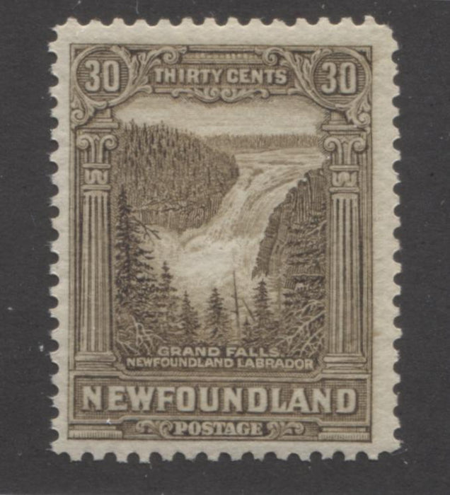 Newfoundland #159 30c Olive Brown Grand Falls 1928-1929 Publicity Issue, A Fine Mint NH Example of the Line Perf. 14.x 14.2 Brixton Chrome