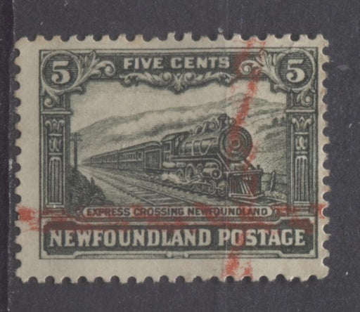 Newfoundland #167 (SG#183) 5c Slate Green 1929 Publicity Re-Engraved Comb Perf.13.6 x 13.8 VG-60 Used Brixton Chrome