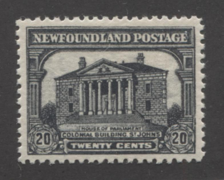 Newfoundland #171 20c Black Colonial Building, St. John's, 1929-1931 Re-Engraved Publicity Issue A Very Fine OG Mint Example of the Line Perf. 14.1 x 13.9 Brixton Chrome