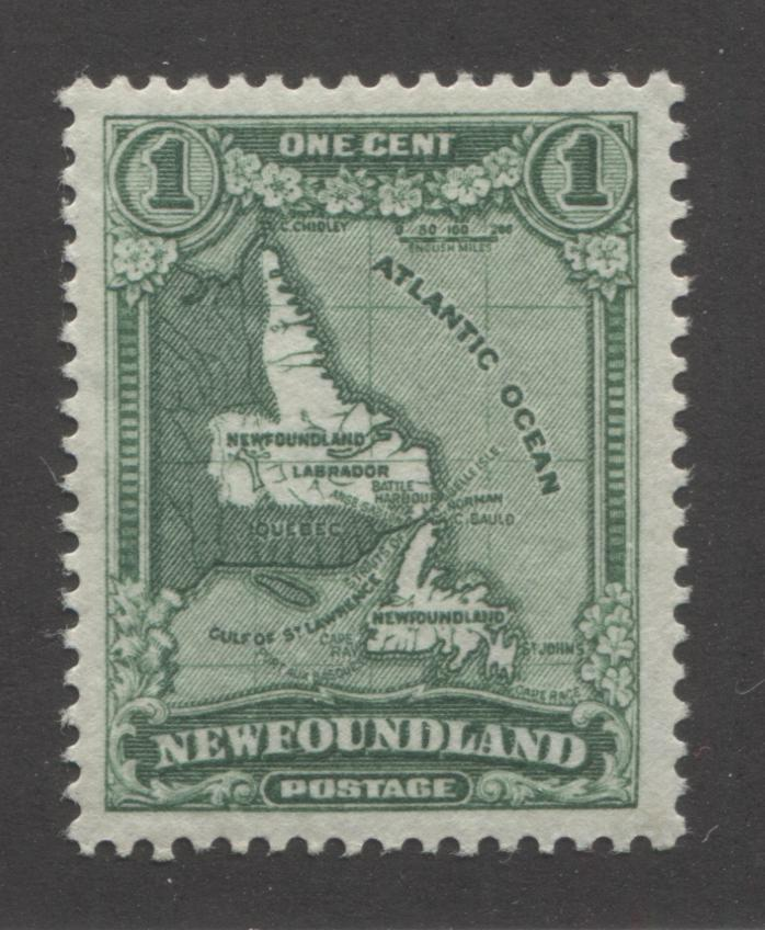 Newfoundland #172 1c Deep Bright Green Map of Newfoundland , 1931 Watermarked and Re-Engraved Publicity Issue, Very Fine Mint OG Example of the Unlisted Inverted Watermark, Comb Perf. 13.6 x 13.5 Brixton Chrome