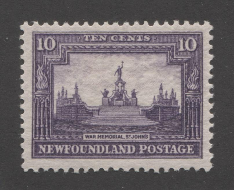 Newfoundland #179 10c Deep Violet War Memorial, St. John's, 1931-1932 Watermarked and Re-Engraved Publicity Issue A Very Fine Mint OG Example of the Comb Perf. 13.8 Brixton Chrome