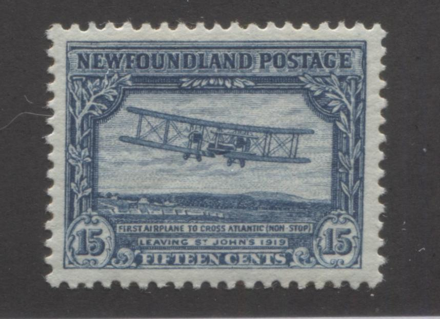 Newfoundland #180 15c Steel Blue First Transatlantic Flight, 1931 Watermarked and Re-Engraved Publicity Issue, Very Fine Mint OG, Comb Perf. 13.8 x 14 Brixton Chrome