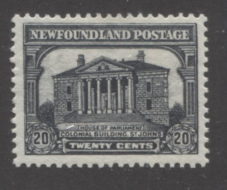 Newfoundland #181 20c Black Colonial Building, St. John's, 1931-1932 Watermarked and Re-Engraved Publicity Issue A Very Fine Mint OG Example of the Comb Perf. 13.8 x 14 Brixton Chrome