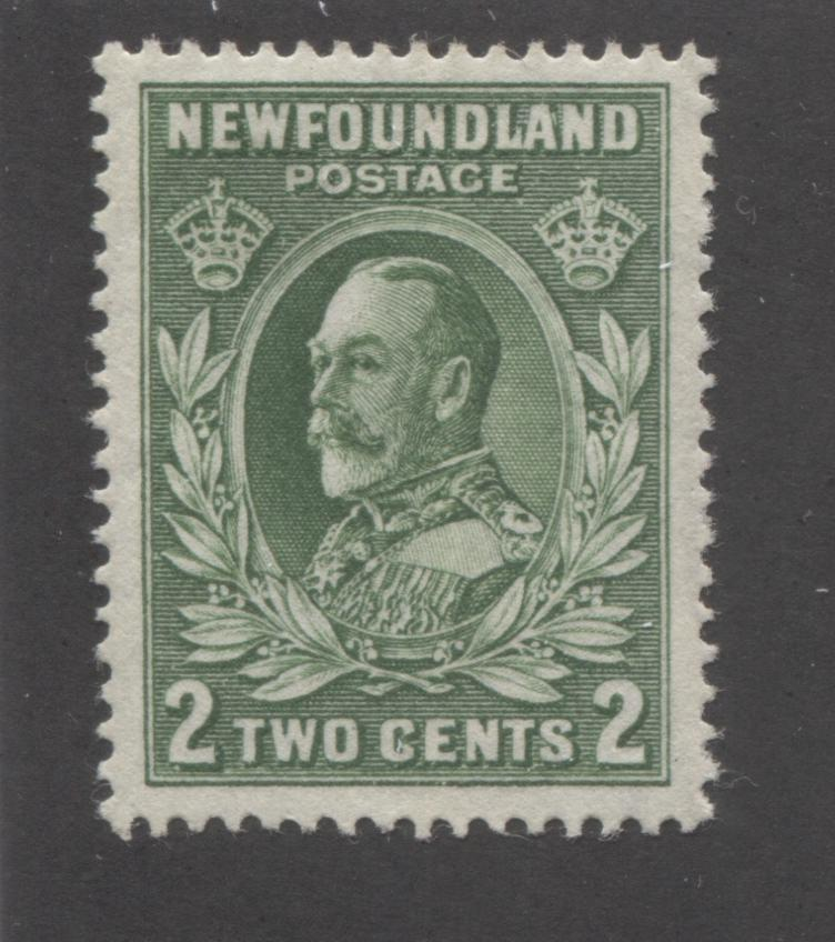 Newfoundland #186 2c Green King George V, 1932-1937 First Resources Issue, Very Fine Mint OG Example of the Unlisted Inverted Watermark, Comb Perf. 13.5 Brixton Chrome