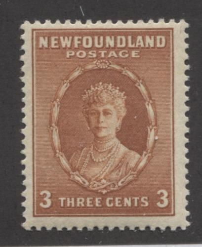 Newfoundland #187 (SG#211) 3c Dull Chestnut Queen Mary 1932-37 Resources Issue F-70 OG Brixton Chrome