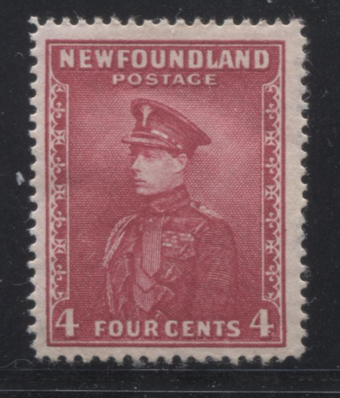 Newfoundland #189d 4c Deep Carmine-Rose Prince of Wales, 1932-1939 First Resources Issue, A Very Good Mint Example of the Line Perf. 14 Brixton Chrome