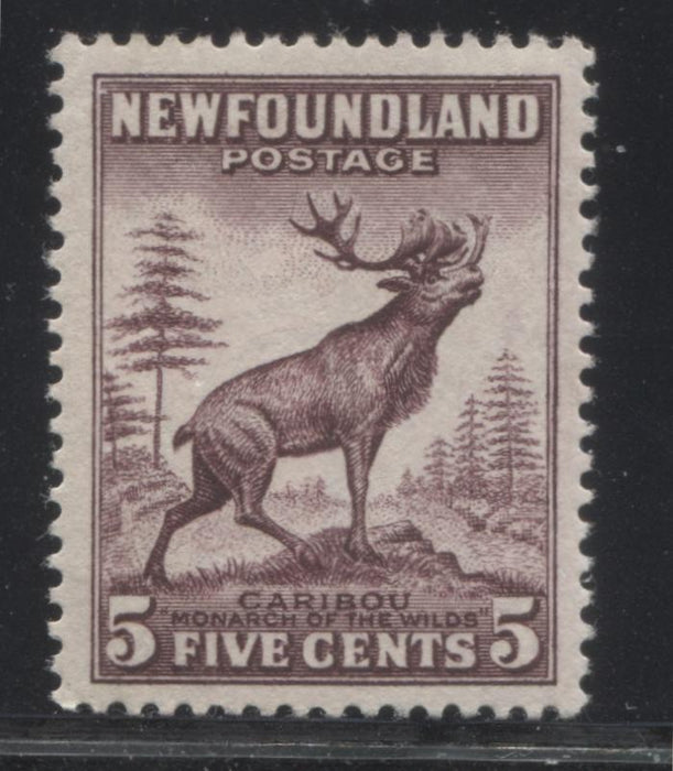 Newfoundland #190 5c Deep Violet Brown Caribou, 1932-1939 First Resources Issue, A Very Fine OG Mint Example Brixton Chrome