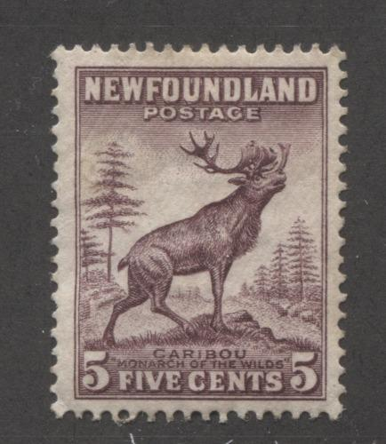 Newfoundland #190 (SG#213) 5c Maroon Caribou Die 1 1932-37 Resources Issue VG-63 Part OG Brixton Chrome
