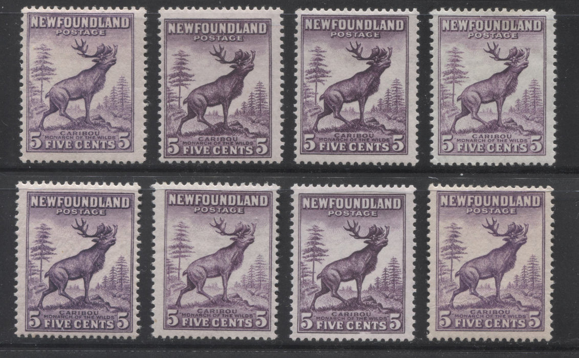 Newfoundland #191-191a 5c Violet Caribou, 1932-1937 First Resources Issue A Group of 8 Fine OG Stamps Showing Different Shades and Perfs, as Well as the Scarce Die 1 Brixton Chrome