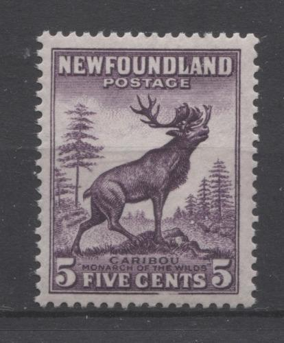 Newfoundland #191 (SG#225c) 5c Deep Rose Lilac Caribou Die 2 1932-37 Resources Issue F-70 NH Brixton Chrome