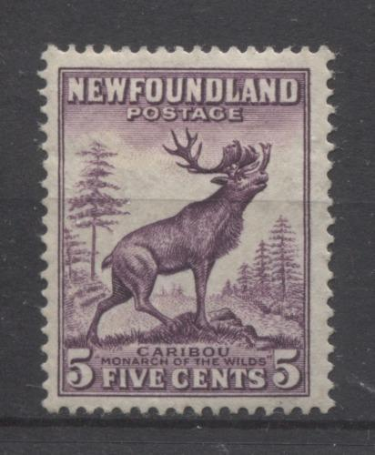 Newfoundland #191 (SG#225c) 5c Deep Rose Lilac Caribou Die 2 1932-37 Resources Issue VF-75 OG Brixton Chrome