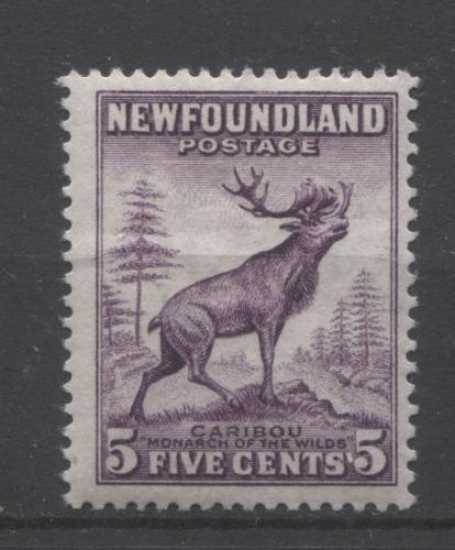 Newfoundland #191a (SG#225) 5c Blackish Purple Caribou Die 1 1932-37 Resources Issue F-70 OG Brixton Chrome