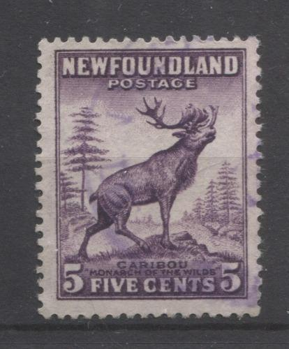 Newfoundland #191a (SG#225) 5c Blackish Purple Caribou Die 1 1932-37 Resources Issue F-70 Used Brixton Chrome