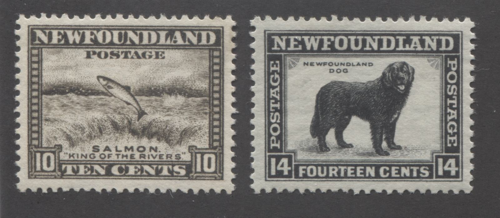 Newfoundland #193-194 10c Agate and 14c Black Salmon Leaping Falls & Newfoundland Dog, 1932-1937 First Resources Issue, Very Fine Mint OG Singles, Comb Perf. 13.5 Brixton Chrome