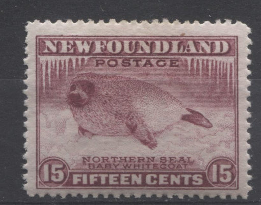 Newfoundland #195b (SG#217b) 15c Deep Brown Purple Northern Seal Line Perf. 14 1932-37 Resources Issue F-70 OG Brixton Chrome