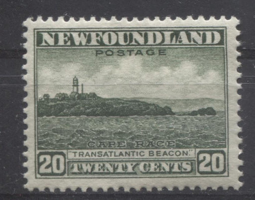 Newfoundland #196 (SG#218) 20c Deep Green Cape Race 1932-37 Resources Issue VF-80 OG Brixton Chrome