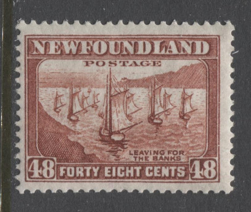 Newfoundland #199 (SG#228c) 48c Lake Brown Shipping Fleet 1932-37 Resources Issue F-70 NH Brixton Chrome
