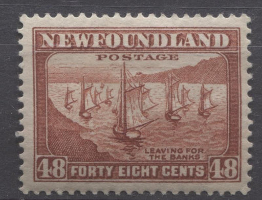 Newfoundland #199 (SG#228c) 48c Lake Brown Shipping Fleet 1932-37 Resources Issue VF-75 OG Brixton Chrome