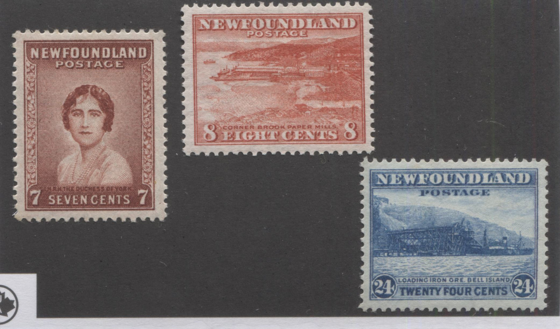Newfoundland #208-210 7c Lake Brown, 8c Dull Vermilion and 24c Greenish Blue Queen Elizabeth, Corner Brook and Bell Island, 1932-1937 First Resources Issue Very Fine Mint OG Singles, Comb Perf. 13.5, and 13.4 x 13.5 Brixton Chrome