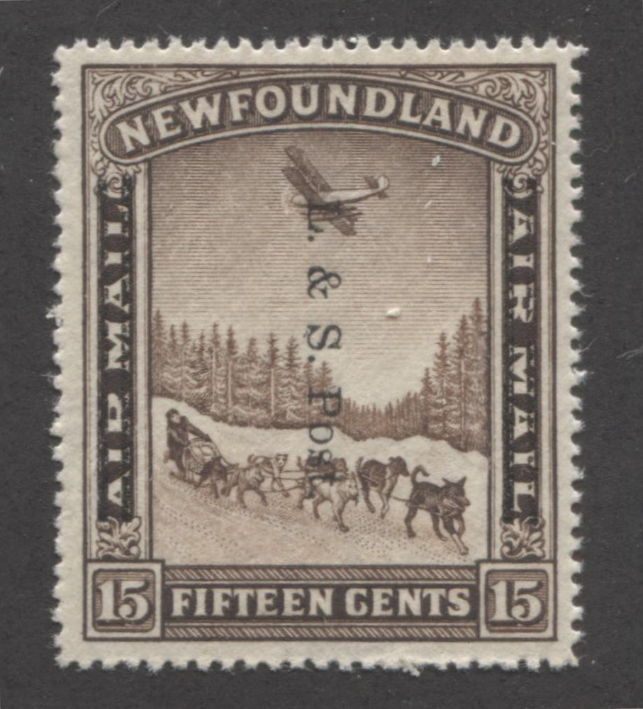 Newfoundland #211iii 15c Dark Brown Plane and Dogsled Team, 1933 Land and Sea Post Issue, A Very Fine Mint NH Example of the Line Perf. 14.2 Brixton Chrome